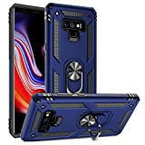 Galaxy Note 9 Case Military Grade Drop Impact Tested Armor 360 Metal Rotating Ring Kickstand Holder Built-in Car Mount Silicone TPU Shockproof Anti-Scratch Full Body Protective Cover for Note 9 (Blue)