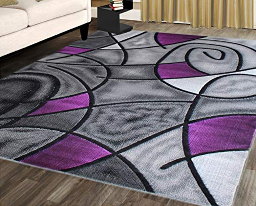 Masada Rugs, Modern Contemporary Area Rug, Purple Grey Black (8 Feet X 10 Feet)