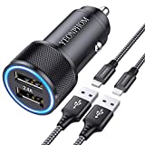 YEONPHOM Car Charger Compatible for iPhone 12 Pro Max/Mini/11 Pro Max/XS Max/XR/X/8/7 Plus/6S/6/5S/5C/SE/5,2.4A [All Metal] Dual USB Car Phone Charger Adapter with 2x3ft MFI Certified Lightning Cable