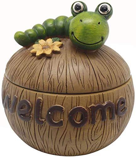 AMITD leuke groene caterpillar-asbak met deksel, rokende asbak, creatieve versiering sigarettencilinder voor binnenkantoor