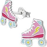 JAYARE Boucles d'oreilles Enfants patins à roulettes skater argent sterling 925 rose clou d'oreilles fille