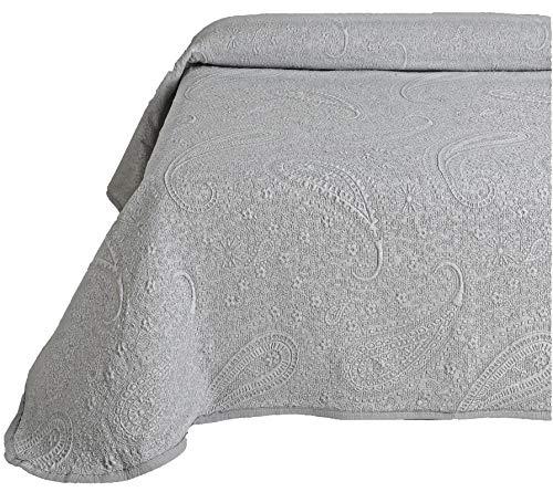 Colcha Cubrecama SABRI de Jacquard Cashmere en Color Blanco, Gris o Beige (Todas las medidas). (Gris, 235x260 (cama 135))