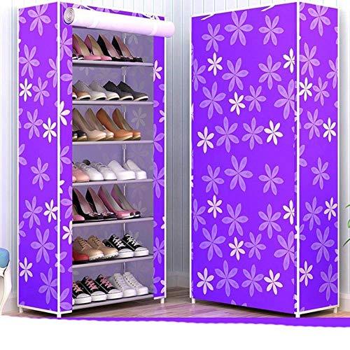 10 capas de tela no tejida zapatero DIY Asamblea almacenamiento zapatos gabinete de pie a prueba de polvo casa zapatos organizador shlef re-púrpura flor