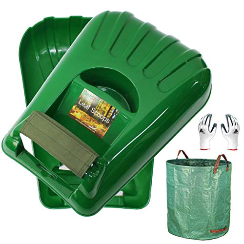 Gardzen Large Leaf Scoop Hand Rakes, Debris and Yard Waste Removal, Comes with 72 Gallon Garden Bag, Work Gloves, Protective Pads