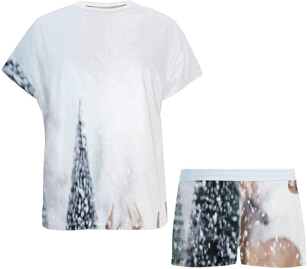 INTERESTPRINT Deers, Snow and Tree Women's Breathable 2 Piece Shorts Pajama Sleepwear Set