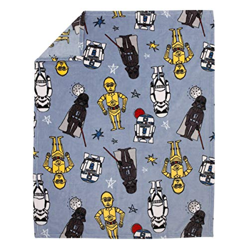 Star Wars Rule The Galaxy Blue, White, Grey, Yellow Super Soft Toddler Blanket