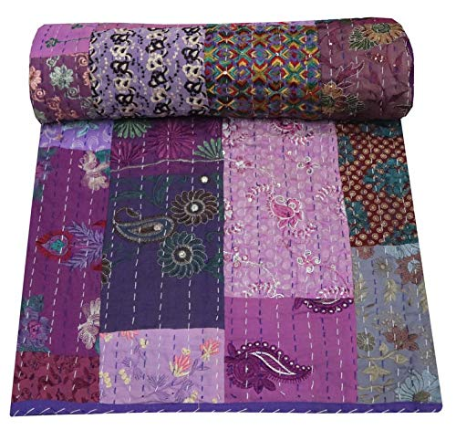 Indian-Shoppers Vintage Patchwork Cotone Copriletto Trapuntini Indiano Decor Kantha Coperta...