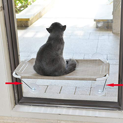 LSAIFATER Trespolo Gatto da Finestra Supporto Basso di Sicurezza in Ferro Prendisole 360° Amaca Sedile da Finestra per Tutti i Gatti (L, Marrone)