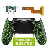 eXtremeRate Dawn Programable Remap Kit PS4 Scuf Reasignación de Botones para Playstaion 4 con Mod Chip&Carcasa Trasera&4 Botones Traseros Compatible con PS4 JDM 040/050/055(Salpicaduras Verdes)