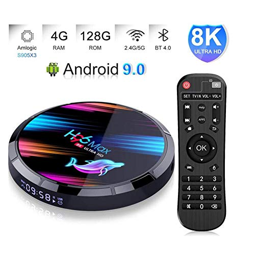 LOISK Android 9.0 TV Box Smart Media Box 4GB RAM 128GB ROM RK3318 Quad Core Bluetooth 4.2 WiFi 2.4G & 5G Ethernet 1USB 3.0 & 1USB 2.0 Set Top Box Support 4K Ultra HD Internet Video Player,S