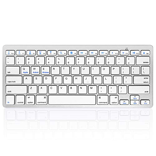 HANYEAL Portable Slim Wireless Keyboard for Tablet Laptop, Universal Wireless Bluetooth Keyboard with Quick Response Keys for iPad Mini, Air, Pro, New iPad, iPhone, Android Smartphone (White)