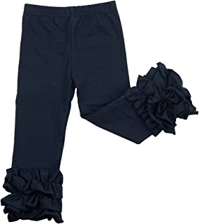Slowera Little Girls' Ruffle Leggings Baby Toddler Solid Color Flower Pants