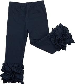 Slowera Little Girls' Ruffle Leggings Baby Toddler Solid Color Flower Pants