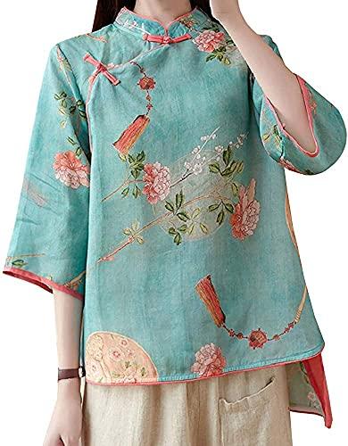 Liuhong Frauen Sommer 3/4 Hülse Chinesische Bluse Top Traditionellen Mandarin Kragen Ethnische Baumwolle Leinen Qipao Hemd (Blue,XL,XL)