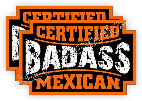 BADASS MEXICAN Hard Hat Stickers (2-pack) | Motorcycle Helmet Decals | Bad Ass Heavy Equipment Bulldozer Dozer Crane Forklift Truck Excavator Mexico Hecho Welder Labels Badges Bad Ass
