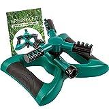 6. MyGarden Sprinkler, Water Sprinkler Solid Weighted Base, Lawn Garden Sprinkler Head - Outdoor Automatic Sprinklers for Lawn Irrigation System - Three Arm High Impact Sprinkler System