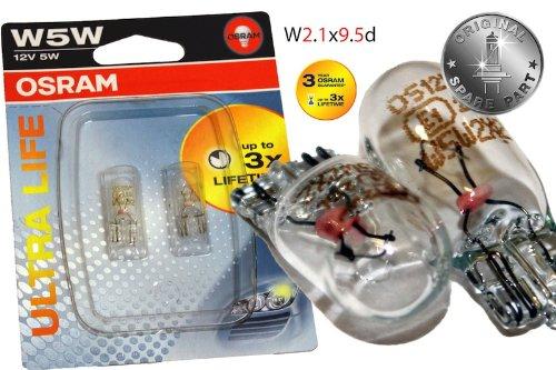 Original OSRAM 1 - Set T10 W5W 12V 5W ULTRA LIFE Soffitte Standlicht Parklicht Scheinwerfer PREMIUM - NEU - OHNE FEHLERMELDUNG - StVO Zugelassen