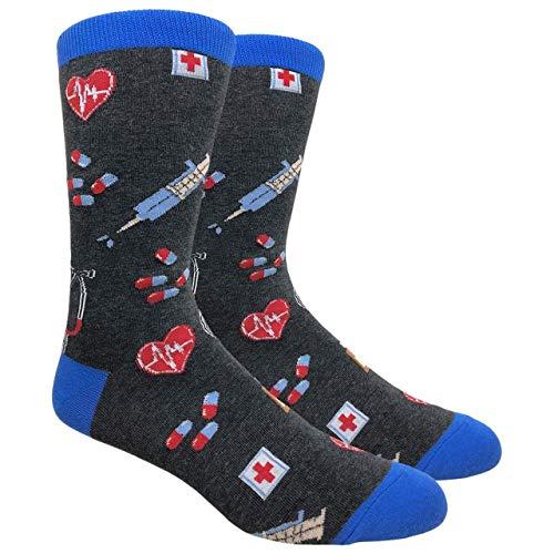 Urban-Peacock Men's Novelty Fun Socks Multiple Themes (Doctor Nurse Medicine - Charcoal Grey, 1 Pair)