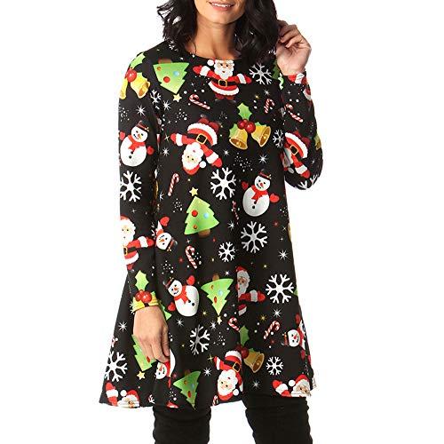 Vestido de Navidad Largo Manga Larga Mujer Invierno Fiesta Tallas Grandes PAOLIAN Vestido de Camiseta Elegantes...