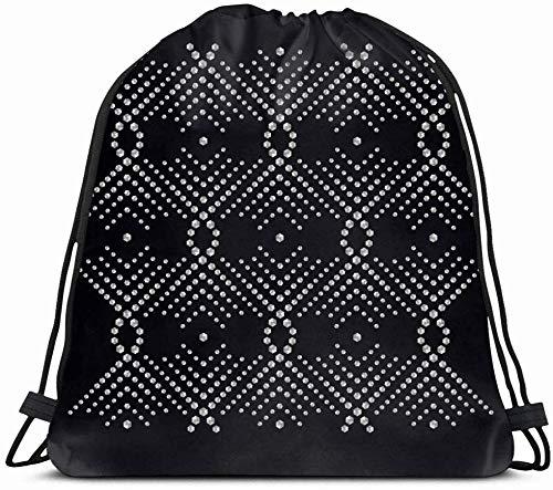 DHNKW Drawstring Backpack String Bag 14X16 Silver Bead Rhinestone Diamond Geometric Applique Beadwork Brilliant Drawing Brooch Contemporary Crystal VIP Sport Gym Sackpack Hiking Yoga...