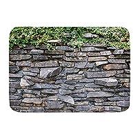 VINISATH バスマット 風呂マット 石レンガの壁アイビーグリーンの葉が素朴な大理石の岩に登る石の壁 足拭きマット 吸水 速乾 滑り止め 浴室 洗面所 脱衣所 風呂 台所 キッチン玄関マット(45x75cm)