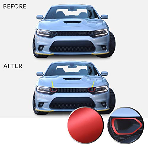 Optix Front Upper Grille Bezel Vinyl Decal Overlay Trim Wrap Inserts Sticker Compatible with & Fits Charger Scat Pack 2019 2020 - Metallic Matte Chrome Red