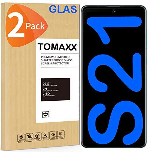 tomaxx 2X Panzerglas [Hartglas] für Samsung Galaxy S21 9H Glas Displayschutzfolie Hartglas kompatibel mit Samsung Galaxy S21 Smartphone