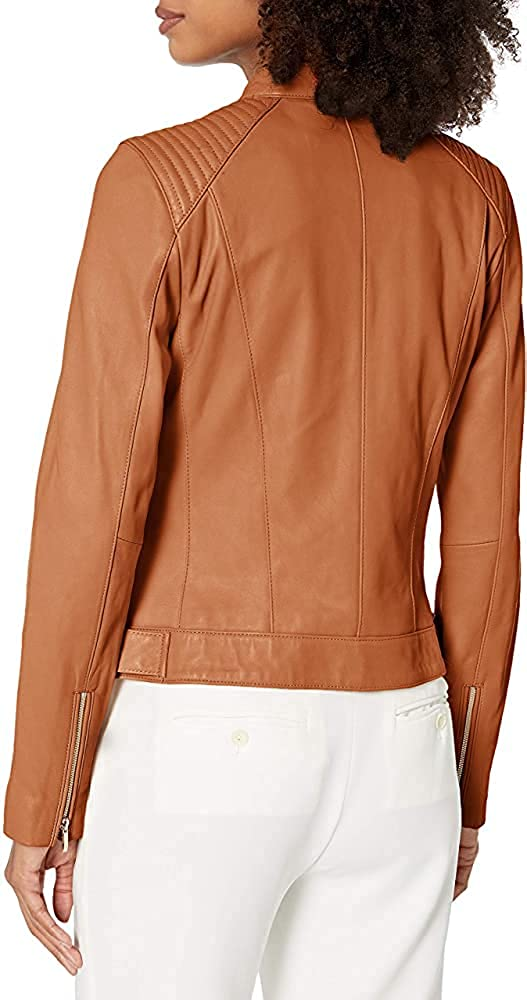 Women's Leather Jacket Real Lambskin Leather Jacket with Quilted Panels
