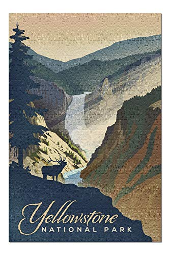 Lantern Press Yellowstone National Park - Yellowstone Falls - Lithograph 88146 (1000 Piece Premium Jigsaw Puzzle for Adults and Family, 19x27)