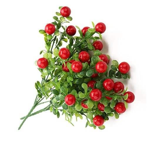 2Pcs Plastic Red Cherry Bunch Artificial Plants Simulation Peppers Fake Vegetables Placed Fruits For Home Garden Decoration