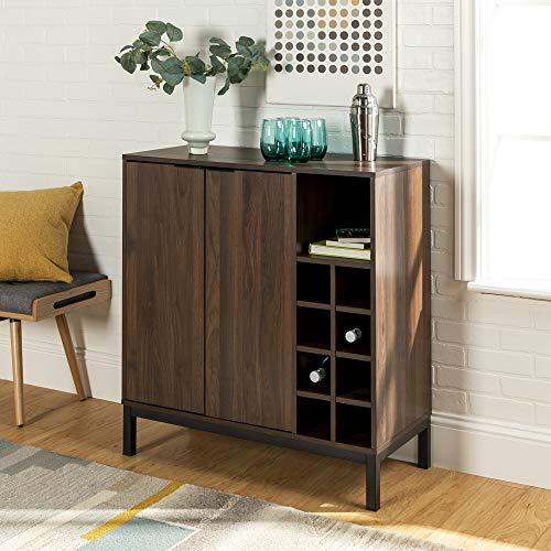 WE Furniture AZU34COBCDW Bar Cabinet, Dark Walnut