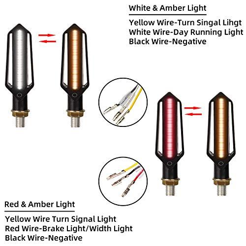 Yizhet 4 PCS 24 LED Indicatori di Direzione modalità Fluente per Moto Luce Diurne Impermeabile Mini Frecce Custom Ambra Bianco Rosso per Motocletta Motociclo Scooter