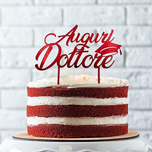 Cake Topper per Torta Laurea | Auguri Dottore o Dottoressa con Tocco | Ideale per Torta Dolci Decorativi Graduation Party | Decorazioni Addobbi e Accessori per Congratulazioni Laurea (Auguri Dottore)