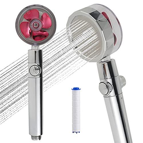 Duschköpfe Hochdruck Handbrause, 360 Rotating Water Saving Shower--Propeller Driven, Filter PP Baumwolle, Brauseschlauch, Druckerhöhung Chrome Duschbrause, Kinder Dusche,Badezimmer Duschkopf (rot)