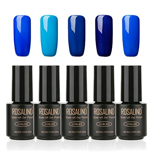 ROSALIND Esmalte de uñas de gel semipermanente Soak Off UV LED Manicura Pedicura salón 5 Pack, 7ml (azul)