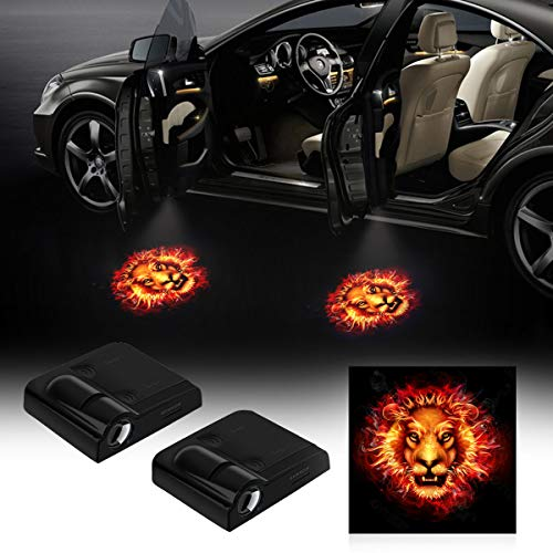 2 pcs Universal Wireless Car Door Logo Projector Lights No Drilling Led Welcome Shadow Car Door Lights for All Models (Lion)
