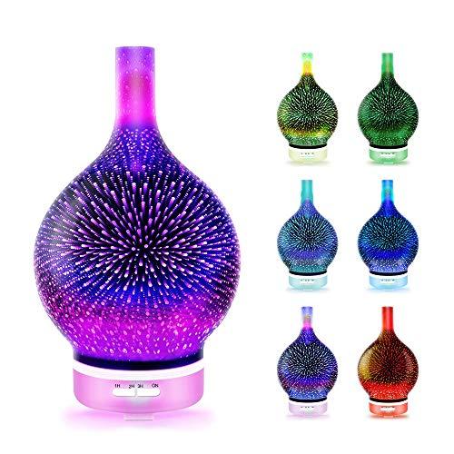 LuftbefeuchterÖle Diffusor Aromatherapie-Maschine des Feuerwerks-3D bunte Glasduft-Licht-Ultraschallausbreitungs-Maschine - Feuerwerke 3DUltraschall Duft Humidifier
