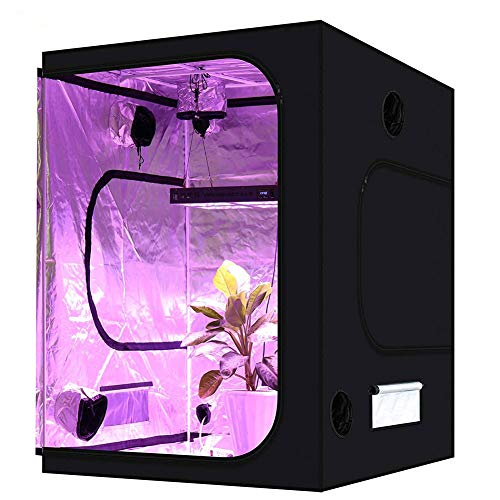 GNNHY Grow Tent, Mylar Hydroponic Indoor Grow Tent with Observation Window and Waterproof Floor Tray for Indoor Outdoor Gardening Plant Growing 120X120X200cm/47.24X47.24X78.74in