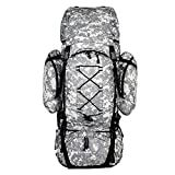 Unistrengh 70L Internal Frame Hiking Backpack Ripstop Water-Resistant Camping Daypack Trekking Bags with Rain Cover (Grey Camouflage)