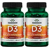 Swanson Vitamin D-3 5000 IU Bone Health Immune Support Healthy Muscle Function D3 Supplement (cholecalciferol) 125 mcg 250 Softgels Count (2 Pack)