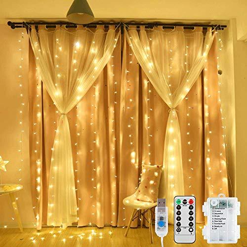 Cortina de luces LED, 3 x 2 m, 200 luces LED, con USB y pilas, IP65, resistente al agua, cortina de luces con 8 modelos de luz, para bodas, Navidad, fiestas, blanco cálido