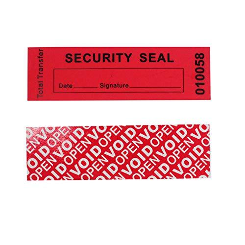 100 Stück Total-transfer Typ Sicherheitsetiketten VOID, TamperSeals Group - Siegeletiketten Sicherheitssiegel Security Seal (Rot, 25 x 85 mm, Nummerierung)
