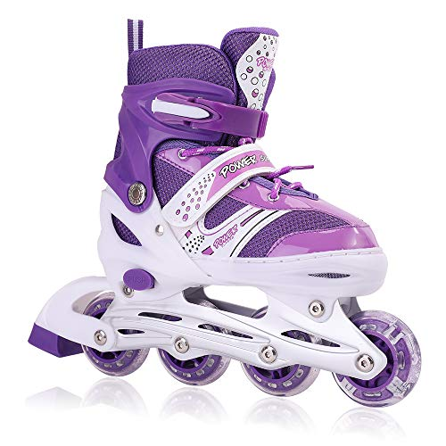 Kids Adjustable Inline Skates with Flashing Light Up Wheels for Boys and Girls,Ice Skating Equipment Small&Medium Size Safe and Durable Children Roller Skates for Beginner (Small Size-Purple)
