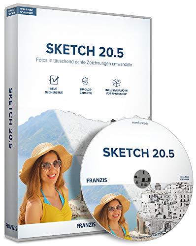 FRANZIS Sketch 20.5|Bildbearbeitung|für Windows und Mac|Fotos in täuschend echte Zeichnungen umwandeln|incl. Photoshop-Plug-in|Disc|Disc