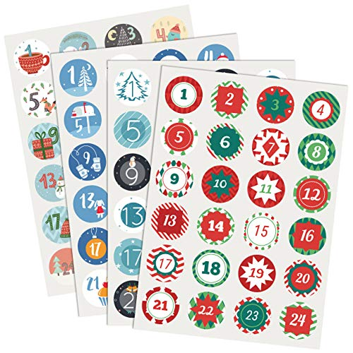 Naler Christmas Advent Calendar Numbers Sticker Sheet with 96 Stickers for DIY Gifts Xmas Craft Christmas Decorations