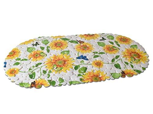 BADEWANNENEINLAGE WANNENEINLAGE BADMATTE DUSCHEINLAGE OVAL STEINOPTIK ANTI RUTSCH MATTE (Gelb Blume)