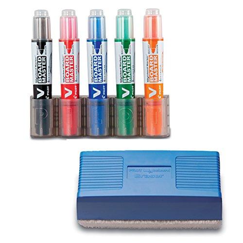 Pilot Pen 5080KIT V-Board Master Begreen - Juego de rotuladores para pizarra (punta de 2,3 mm), color negro, rojo, azul, verde y naranja