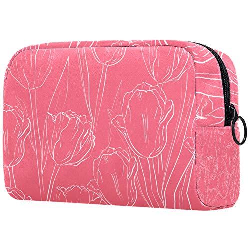 Bolso de cosméticos para mujer, bolsa de maquillaje, organizador de artículos de tocador con cremallera, 19 x 7 x 12 cm, verde verano