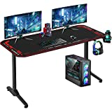 Computer Desk Gaming Desk 55 inches Home Office Desk with Headphone Hook Cup Holder and Socket Rack Full-Surface Mouse Pad Gamer Workstation for Adult Teens,Black