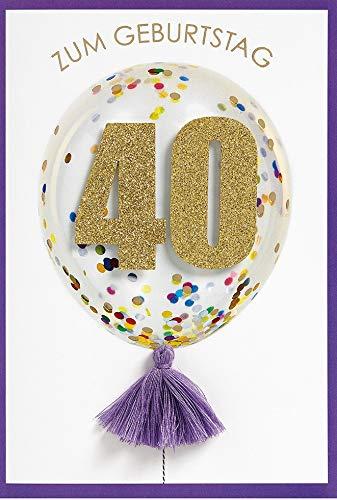 Verjaardagskaart voor 40e verjaardag lifestyle - cijferkaart ballon - 11,6 x 16,6 cm